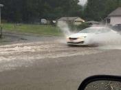 Flooded streets in Millbury ma