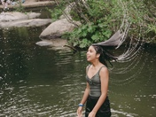 This is a picture of my granddaughter Ashleen Singh enjoying the day cooling off at Kyburz rhis past weekend July 14th.