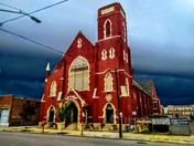 A shot of The Southgate House Revival I took today as the storms rolled in behind it over downtown.