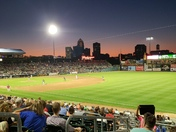 Enjoying a iowa cubs game. Beautiful sunset.