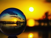 Using a LensBall with the sunset on Sunday 7/22/18 at lake overholser.
