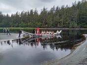 Totem pole raising at Hiellen, Haida Gwaii