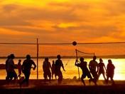 Enjoying the Sunset Volley Ball Game at the Britannia Beach of Ottawa, Ontario.