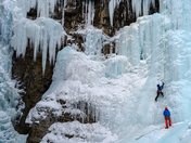 1a. Ice climbers on frozen waterfalls, Johnston Canyon