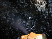 My cozy tent under the full moon and star lit sky