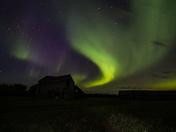 Northern Lights over an Abandoned Farmyard