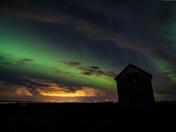 Northern Lights over a Saskatchewan Highway
