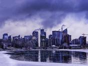 Moody Winter Calgary Skyline