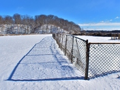 Fence along the frozen lake.