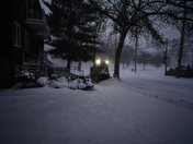 Plowing through the snow.