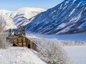 Yukon winter landscape with mining relic