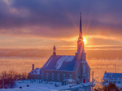 Sunrise on the St-Lawrence and the church of Chateau-Richer
