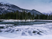 Icy Bow River Bend, Misty Mountains
