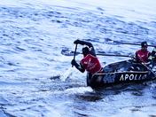 Steering the ice canoe.