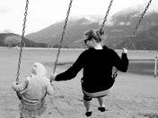 black n white swings