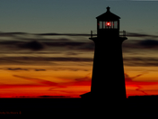 Peggy's Cove Lighthouse on a Winter's Night