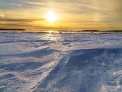 Snow at sundown
