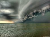 Small Boat Tries to Outrun Storm