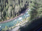 A view Looking down aboard the Rocky Mountain Train BC