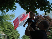 Proud to be a Canadian at  7 1/2 months old, Happy Birthday Canada!