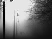 Dog Walkers in Fog