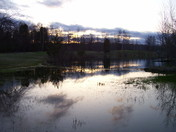 Spring flooding by sunset