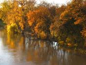 Fall riverscene from Osborne St bridge Winnipeg