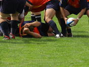 Low angle of a rugby game