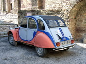 COUSTOUGES, France, brightly painted Citroen