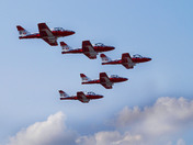 Canadian Icons the Snowbirds leave Pearson Airport for the CNE show