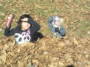 playing in the leaves,timmys style