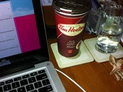A long day of study supported by a large coffee!
