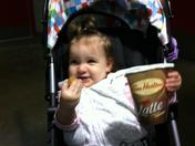Sophia at Seadogs game with Timbit and Tims