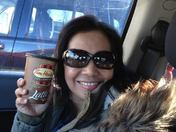 "Freezing even inside a car - the answer ""Tim Hortons Coffee Latte"""