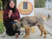Gryphon and I enjoying our Timmies at Sprucewood Cookies (Warkworth)