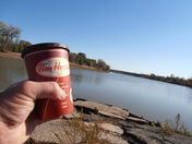 me enjoying my timmies at the red river