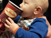 Our entire family wakes up with Tim Hortons!