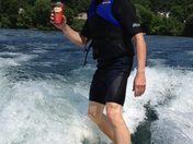 Wakesurfing and having a Tim's!