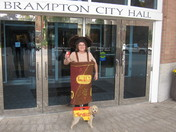 Enjoying Tim Hortons at Brampton City Hall