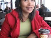 Enjoying Tims coffee and hot chocolate with my family