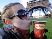 Katherine and her Timmie's, in Paris