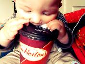 Can't wait until i'm old enough, to sink my teeth into a Tim Hortons Coffee!