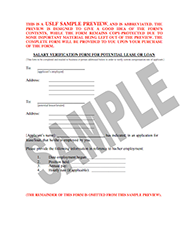Salary Verification Form For Potential Lease  Landlord Verification Form