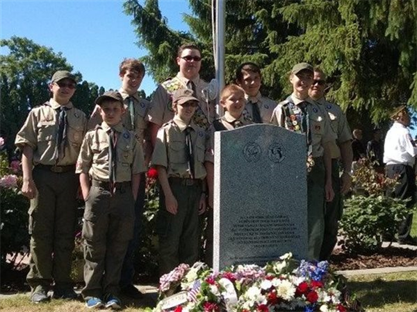 Dedication of new Veteran's Memorial marker in Riverview Heights Cemetery.  Eagle Scout project.  Memorial Day 2014