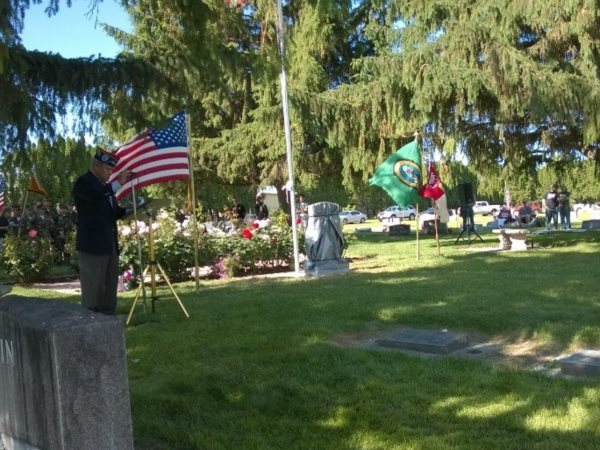 Dedication of new Veteran's Memorial marker in Riverview Heights Cemetery.  Memorial Day 2014
