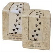Heart Prints Cultrured Stone Urn - Large