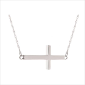 Sideways Stainless Cross Necklace