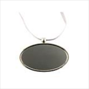 Silvertone Oval Pendant