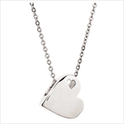 Sideways Stainless Heart Necklace