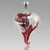 Precious Metal Heart - Red with Silver